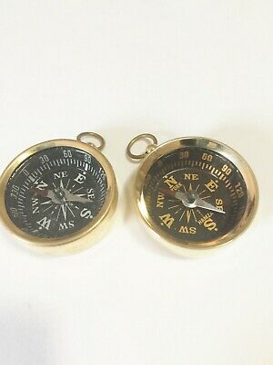 Set of 4-Nautical Maritime Brass Compass Black - Pendant /Keychain USA Seller!!!
