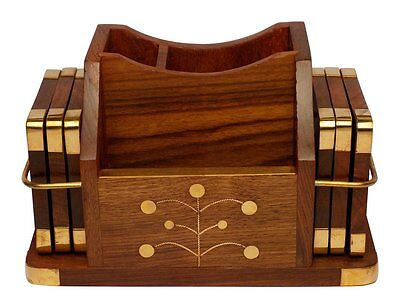 Beautiful Wooden Pen/Mobile Phone Holder with Coasters USA Seller!!!