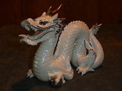 Old Vintage Antique Opal White Ceramic Porcelain Dragon Figure Made In Japan