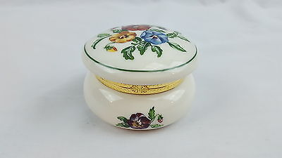 PARTYLITE Round Ceramic Floral Pansies Hinged Trinket Jar Box