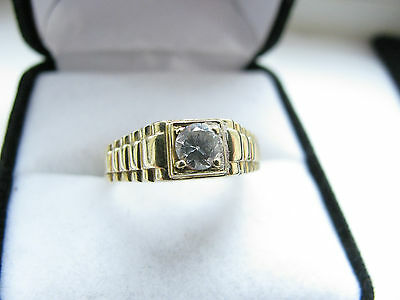 18ct Yellow Gold White Stone Solitaire Pinky Ring 3.8g Size O 1/2 Us 7,50 Superb