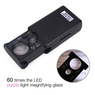 2017 LED Magnifying Glass 30X 60X 90X Portable Slide Out Loupe UV Light