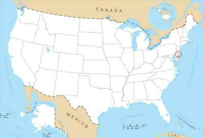 Blank United States Map Glossy Poster Picture Photo Print North