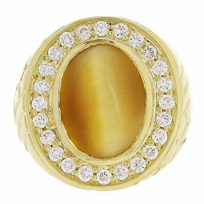 14k Yellow Gold Oval 6.00ct Tiger Eye Cabochon Ring with 0.80ct 24 Diamonds Sz10