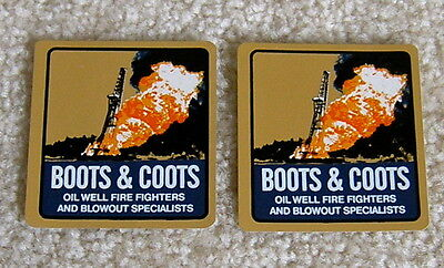 Boots & Coots - 2 Hard Hat Decal Stickers - Oil Field Gas Well Firefighters