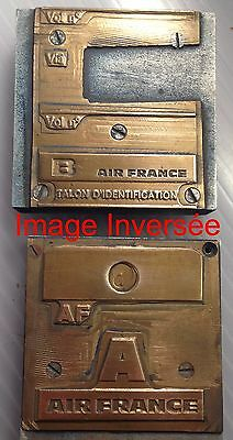 Ancien Air France MEMORABILIA Talons Identification Matrices Laiton Introuvables