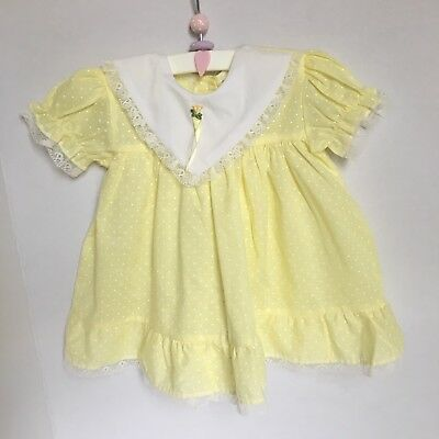 Vintage Yellow Dress 18 Months White Swiss Dot Lace Collar Unworn