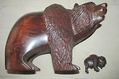 Ironwood Bear Sculpture- Rare Large And Heavy