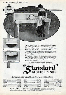 1920 Standard Kitchen Sink ad --Before they were built-in--l-233