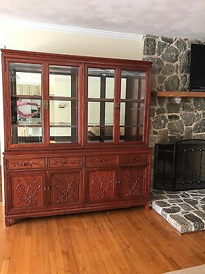 Chinese Dynasty Furnishings  Rosewood China Cabinet Birds & Flower Design