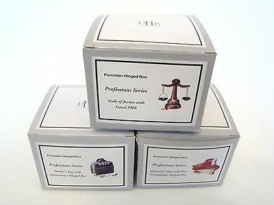 PHB Midwest of Cannon Falls Porcelain Hinged Boxes - Professions series SET OF 3