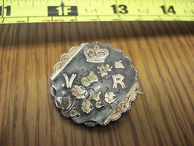 ca 1850 Queen Victoria VR Brooch Pin STERLING with ROSE & YELLOW GOLD ON-LAYS