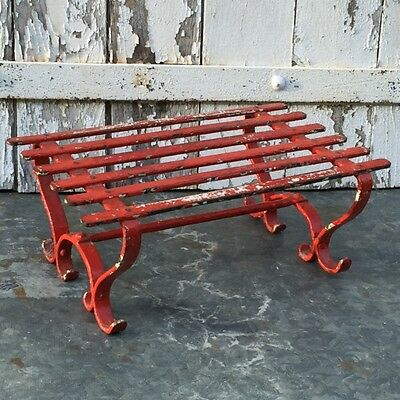 Old Vtg FRENCH CAST & WROUGHT IRON Slat Garden STOOL / STAND Peely Red PAINTING