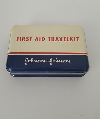 Vintage Johnson & Johnson First Aid Travel Kit Metal Tin