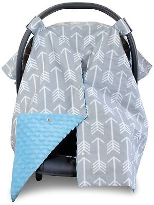Premium Carseat Canopy Cover and Nursing Cover- Large Arrow Pattern w/ Blue M...