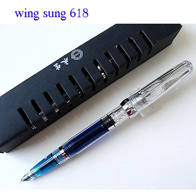 Wing Sung 618 Transparent  Piston Fountain Pen Fine Nib silver clip