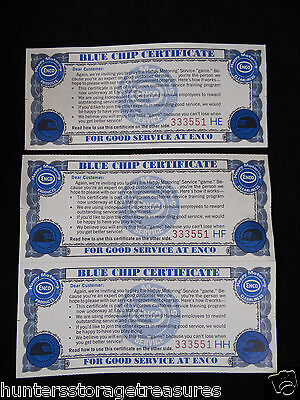 3 Vintage Enco Humble Gas & Oil Blue Chip Certificate Happy Motoring Game Rare!