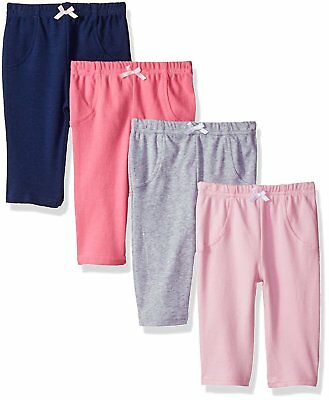 Luvable Friends Baby Cotton Pants, 4 Pack, Girl Solids, 6-9 Months