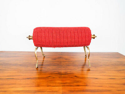 Antique Primitive Brass Red Fabric Foot Rest Vintage Train Footstool Victorian