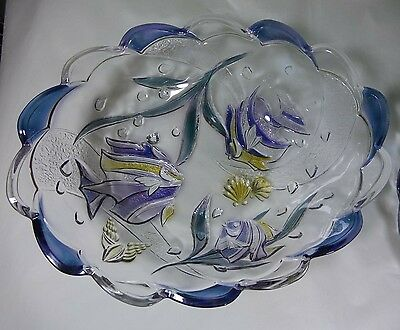Mikasa Nautical Fish Crystal Large Oval Serving Bowl and Platter