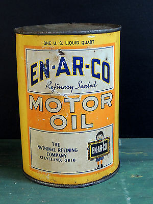 early vintage ENARCO Motor Oil Can Tin Gas Advertising USA Cleveland OH 1-Quart