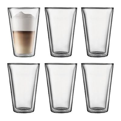 New Bodum Canteen 6 Piece Double Wall Glass Large 400ml FAST SHIPPING