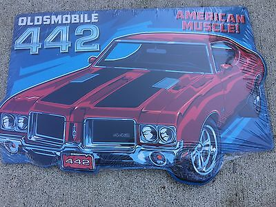 Collectible Oldsmobile 442 Embossed Tin Sign New Design.  Auto shop Man-cave.