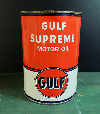 FULL Unopened vintage GULF SUPREME Motor Oil Can Tin Gas Advertising 1-Quart QT