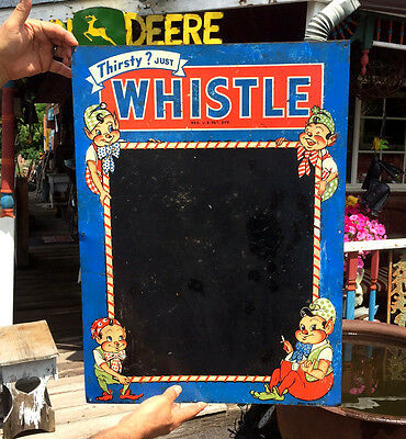 Vintage Whistle Orange Soda Pop Metal Menu Board Sign W/ Elf & Bottle Graphic