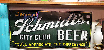 Vintage Early lg 30in Jacob Schmidt City Club Beer Brewery Metal Sign St Paul MN