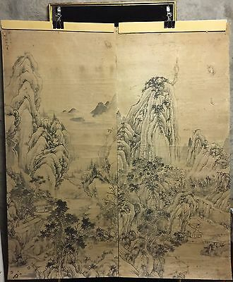 2 Antique Japanese Paintings, One Set (Some Stains)