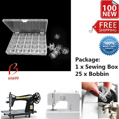 Plastic Machine Spools Sewing Thread Storage Case Box with 25 Single Bobbin BU