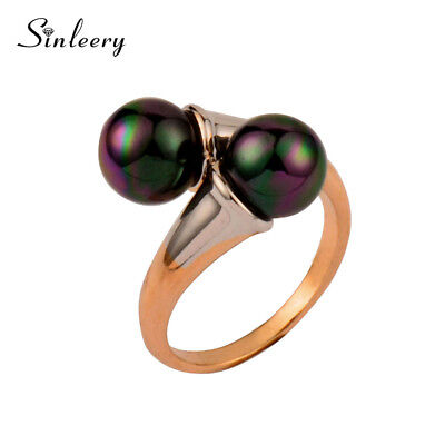 Female Vintage Double Black Round Pearls Rings For Women  Antique Party Gifts