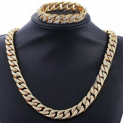 14mm Mens Womens Chain Curb Cuban Link Gold Filled Bracelet Necklace Rhinestones