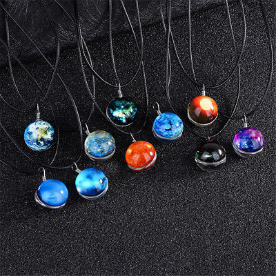 Retro Galaxy Glass Ball Pendant Necklace Glow in the dark Star Universe Choker
