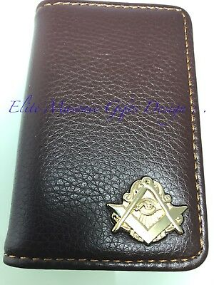 Masonic Master Mason, Business, Credit Card or Dues Card Holder. Coffee /Gold...