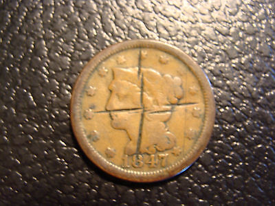 1847 Braided Hair Large Cent VG-Fine Obverse Cuts WE COMBINE SHIPPING