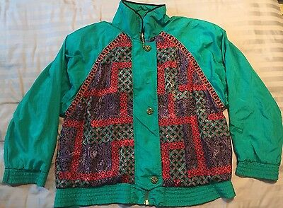 Vtg 80s 90s Lavon by Cheerful Corp Track Suit Windbreaker Womens Large Green Red