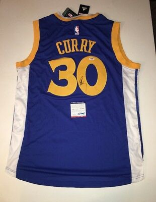 Stephen Steph Curry Warriors Auto Autographed Basketball L Jersey PSA