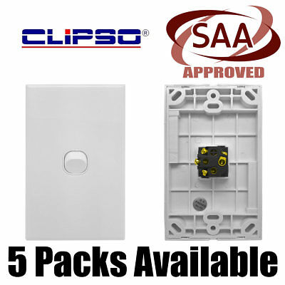 NEW CLIPSO A-Series White 1 Gang Light Switch - 16 Amp - CLWS1-V