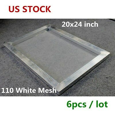 US Stock - 6 pcs 20 x 24 inch Aluminum Screen Printing Frame with 110 White Mesh