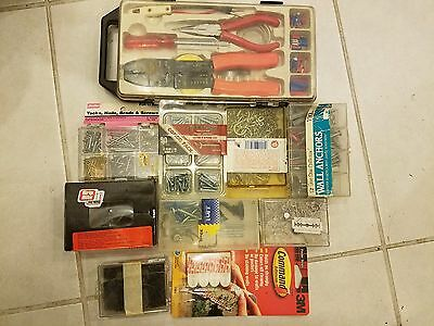 Cable Crimper Tool Kit Wire Terminal Ratchet Plier Crimping Set w/ many hardware
