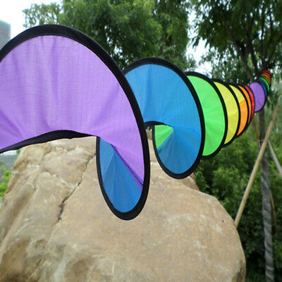 1pc Rainbow wind spinner Colorful Windmill Outdoor Garden Lawn Tent Decor YH