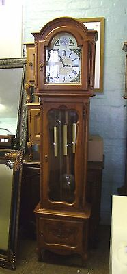 French Carved Oak Long Case Grandfather Clock  8 Day Westminster Chimes (COBC05)