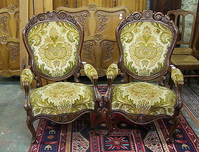 French Carved Walnut Pair Of Armchairs - (00284)