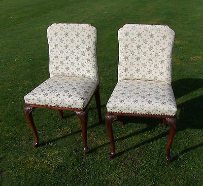 Vintage French Pair Of Mahogany & Floral Fabric Bedroom Chairs - (001904)
