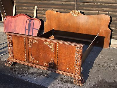 Vintage French Heavily Carved Oak Double Bed Frame - (B010)
