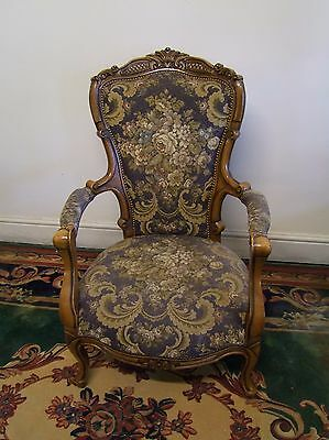Louis Xv Style Vintage French Carved Oak Armchair - (117125)