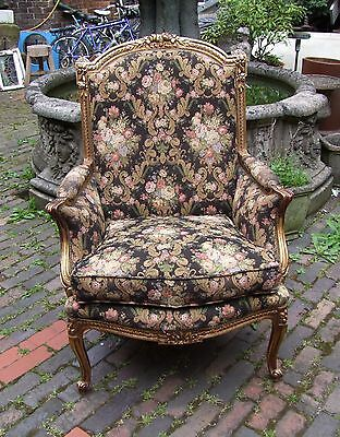 Louis Xv Style Vintage French Carved Oak Gold/black Armchair - (Cob009)
