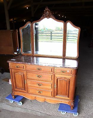 19th Century French Mahogany Marble Topped Dressing Table/Chest - (C191)